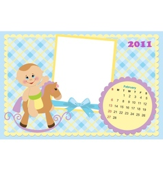 Babys calendar for february 2011 vector image