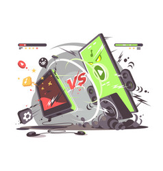 battle of smartphones vs vector image vector image