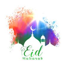 beautiful eid mubarak islamic festival greeting vector image vector image