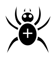 Black spider icon simple style vector