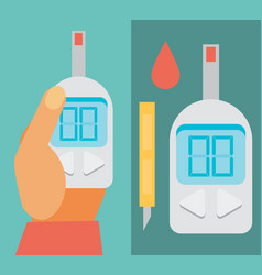 blood glucose test diabetes flat icon set hand vector image