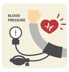 Blood pressure measurement poster - hand and sphyg vector
