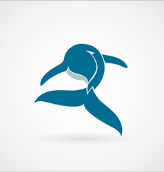 Blue whale logo sign emblem isolated on white vector