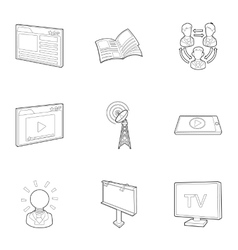 Broadcast icons set outline style vector