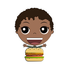 cartoon boy eating burger vector image vector image