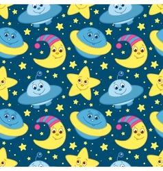 Children space pattern blue vector