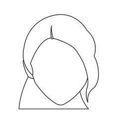 cute face woman female hairstyle outline vector image vector image