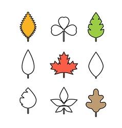 Different leaf simple line design vector