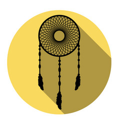 Dream catcher sign flat black icon with vector