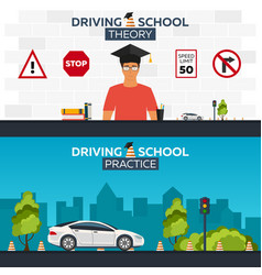 Driving school auto auto education vector