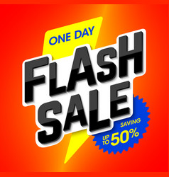 flash sale bright banner one day special offer vector image