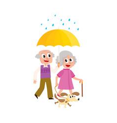 grey-haired couple walks keeping umbrella vector image
