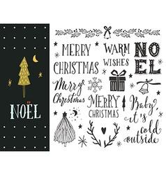 Hand drawn christmas holiday collection vector