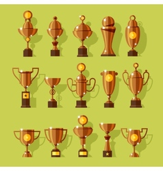 icons set of silver sport award cups vector image vector image