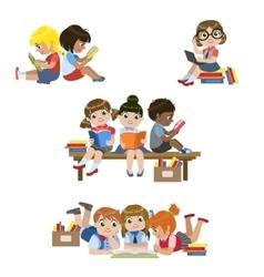 Kids reading books set vector