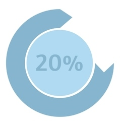 Loading circle 20 percent icon flat style vector