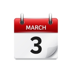 March 3 flat daily calendar icon date and vector