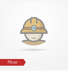 Miner face icon vector