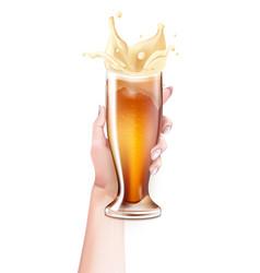 realistic beer glass splashing in hand vector image vector image