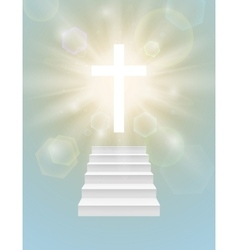 Religious background with white cross vector