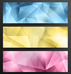 Set of low poly web banners vector