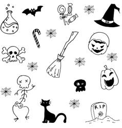 Set with halloween doodle vector