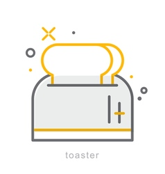 Thin line icons toaster vector