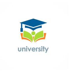 university education graduation hat logo vector image vector image
