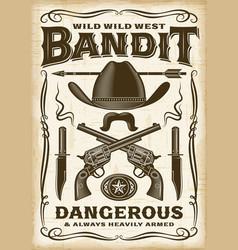 Vintage wild west bandit poster vector