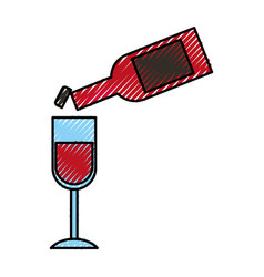 Wine bottle pouring into a wineglass thanksgiving vector