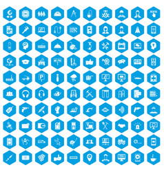 100 support icons set blue vector