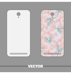 Phone Cover Pink And Blue Flowers vector image