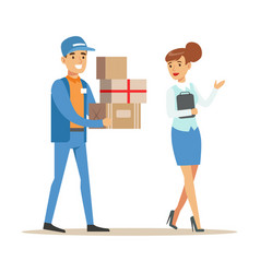 Woman showing the way for delivery service worker vector