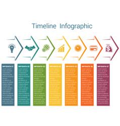 Timeline infographic 7 color arrows vector