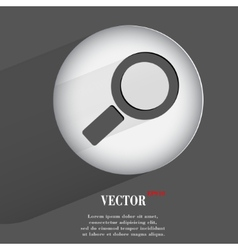 Magnifier flat modern web button with long shadow vector