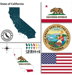 Map of california with seal vector