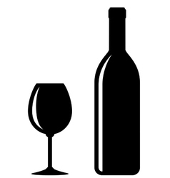 black wine bottle with glass vector image