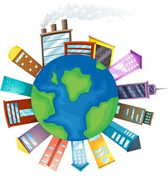 Buildings and Earth vector image