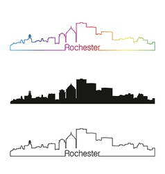 Rochester skyline linear style with rainbow vector