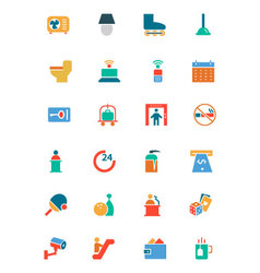 Hotel and restaurant colored icons 3 vector