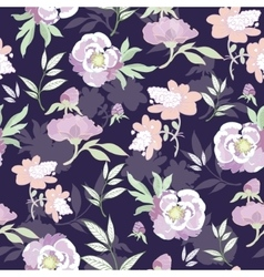 Pastel kimono flowers on black seamless vector