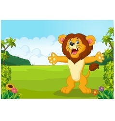 Cartoon happy lion vector