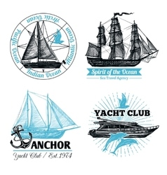 Marine labels set vector