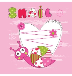 Cute baby background with snail 2 vector image