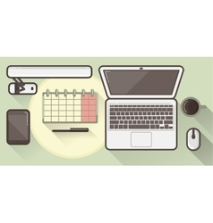 Flat office icons with a thick stroke vector