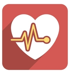 Heart pulse flat rounded square icon with long vector