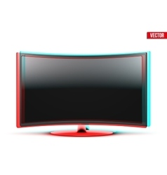 Frontal view of curved widescreen led or lcd tv vector image