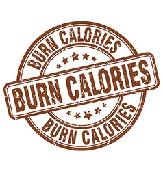 Burn calories brown grunge round vintage rubber vector
