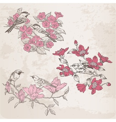 Retro - flowers and birds vector
