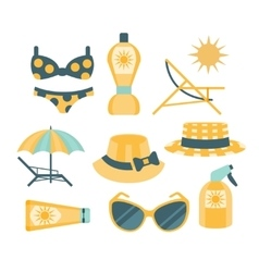 Beach vacation travelling kit set vector
